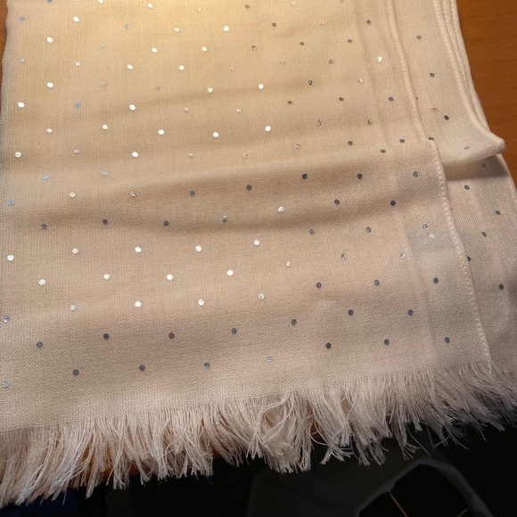 Jcrew cream scarf with silver dots